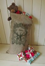 Personalized Reindeer Large Father Christmas Xmas Santa Sack / Stocking Bag Jute Hessian